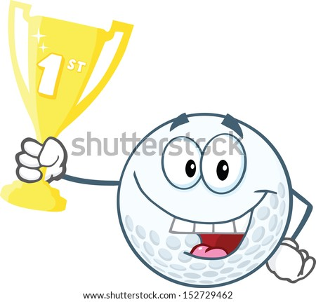 Happy Golf Ball Holding First Prize Trophy Cup - stock vector