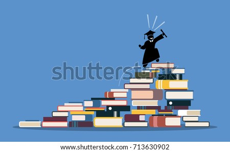 Happy graduating student climbing to the top of book piles. Vector artwork depicts the process and step by step of achieving wisdom, knowledge, success, education, rewards, and hard works.