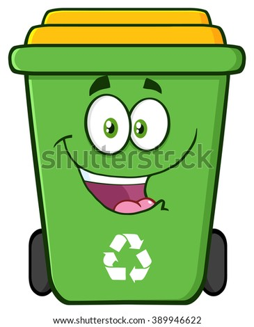 Happy Green Recycle Bin Cartoon Character. Vector Illustration Isolated On White Background - stock vector