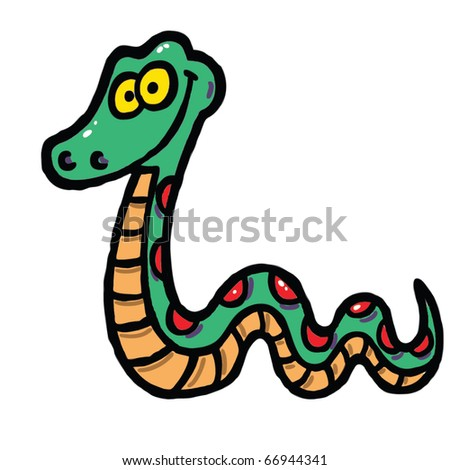 Happy green snake vector illustration - stock vector