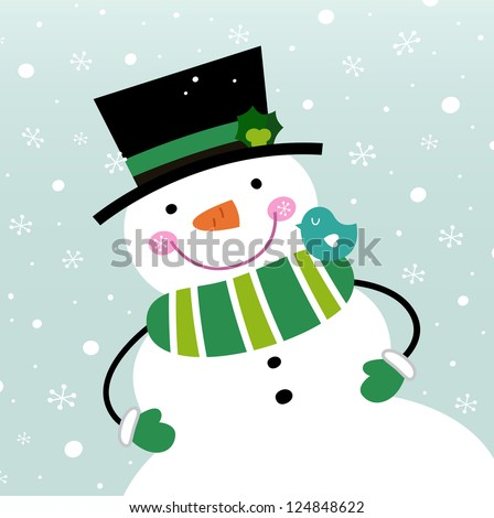 Happy green Snowman. Vector cartoon illustration - stock vector