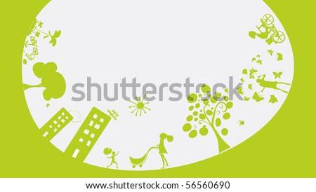 happy green world - stock vector