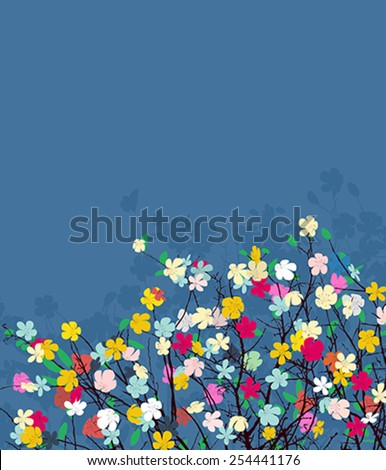 Happy greetings floral with copy space - stock vector