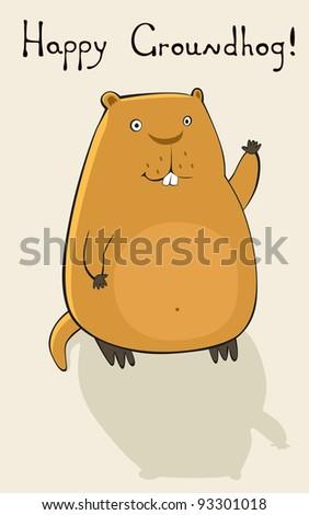 Happy Groundhog - stock vector