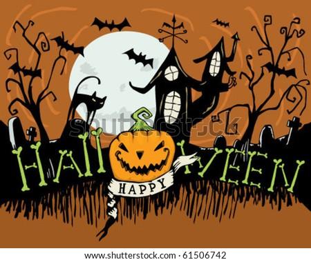 Happy Halloween - stock vector