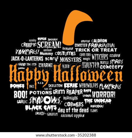 happy halloween and other scary words in the shape of a pumpkin on a black background - stock vector
