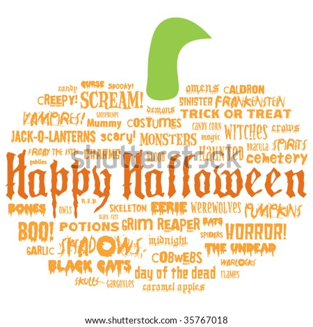 happy halloween and other scary words in the shape of a pumpkin on a white background - stock vector