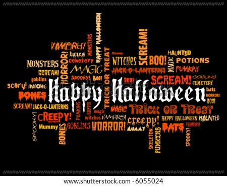 happy halloween and other scary words on a black background - stock vector
