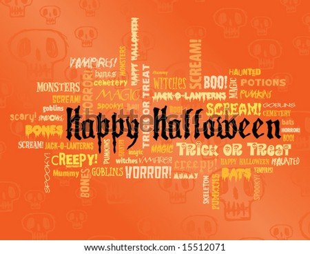 happy halloween and other scary words on an orange background - stock vector