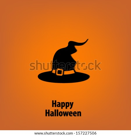 Happy Halloween background with a witch hat - stock vector