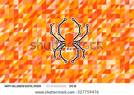 Happy Halloween background with digital spider like USB flash drive. Modern flat style vector illustration. Posters, postcards, greeting cards, banners, packaging, headers template. - stock vector