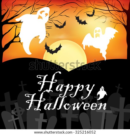 Happy Halloween Background with Ghosts, Trees and Graveyard. Orange and Black, Vector