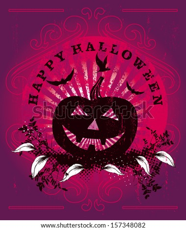 happy halloween background with pumpkin - stock vector