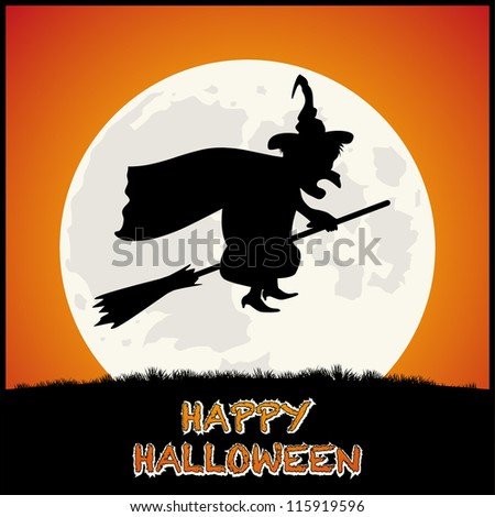 Happy Halloween Background with Spooky Witch on Orange background. Vector - stock vector