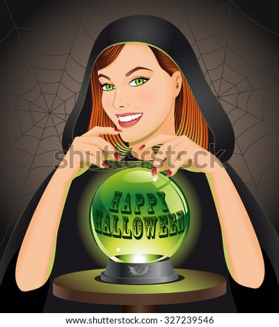 Happy Halloween background with witch with magic sphere. Halloween concept. Vector illustration.  - stock vector