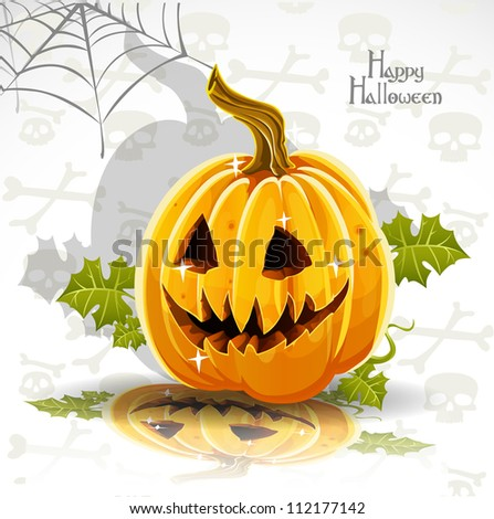 Happy Halloween banner - cut out pumpkin Jack - stock vector