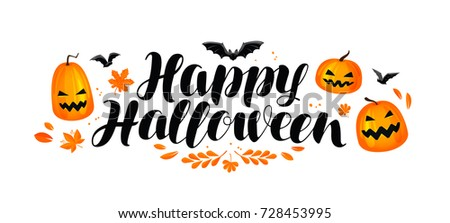 Happy Halloween Banner Handwritten Lettering Calligraphy Stock ...