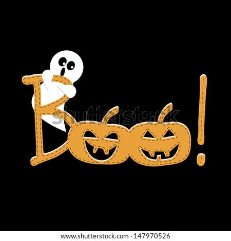 Happy Halloween Boo.  A funny background for a Happy Halloween. - stock vector