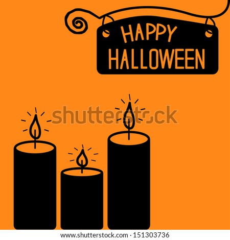 Happy Halloween  candle card. Vector illustration - stock vector