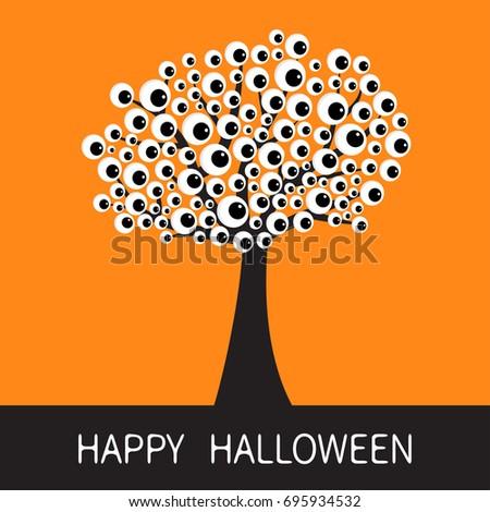 happy halloween card black tree silhouette stock vector 695934532 rh shutterstock com Ghost Eyes Clip Art Scary Eyes Clip Art