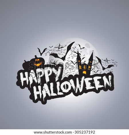 Happy Halloween Card Design Template - Vector Illustration - stock vector