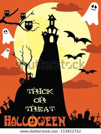 happy halloween card design. vector illustration - stock vector