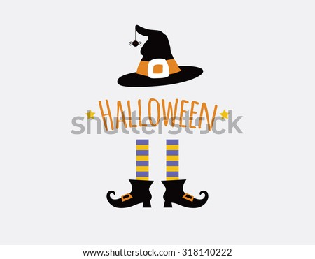 happy halloween card design with witch legs and hat. vector illustration - stock vector