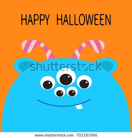 Happy Halloween Card. Monster Head Silhouette With Ears, Tooth And Horns.  Blue Color