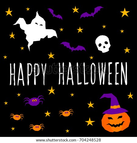 Happy Halloween Card Template. Abstract Halloween Scary Ghost Pattern And  Handwritten Happy Halloween Quote For