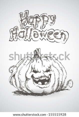 Happy Halloween card with angry pumpkin