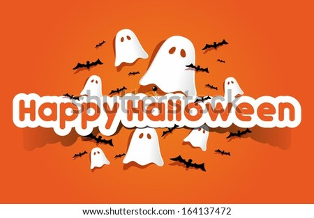 Happy Halloween card With Bats And Ghosts On Orange Background vector illustration - stock vector