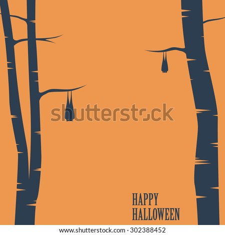 Happy halloween card with bats sleeping on trees. Holiday card template. Space for text. Eps10 vector illustration. - stock vector