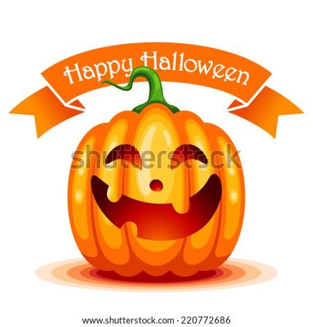 Happy Halloween card with cute cartoon pumpkin character - stock vector