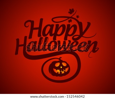 Happy Halloween card with pumpkin. - stock vector