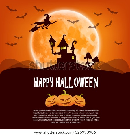 Happy Halloween card with pumpkin, moon and a witch on a broom