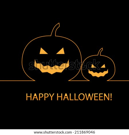 Happy Halloween card with pumpkins ;  vector illustration