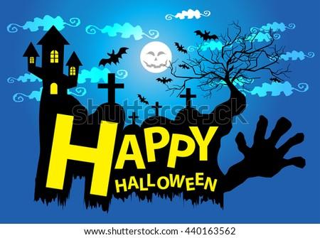 Happy Halloween cartoon design background vector illustration. - stock vector
