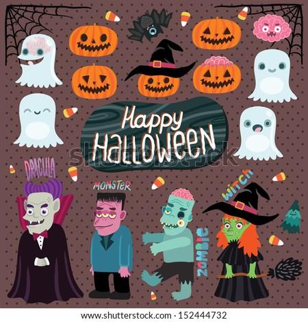 Happy Halloween character set - ghost, pumpkin, witch, dracula, monster, zombie, bat, brain, tree - stock vector