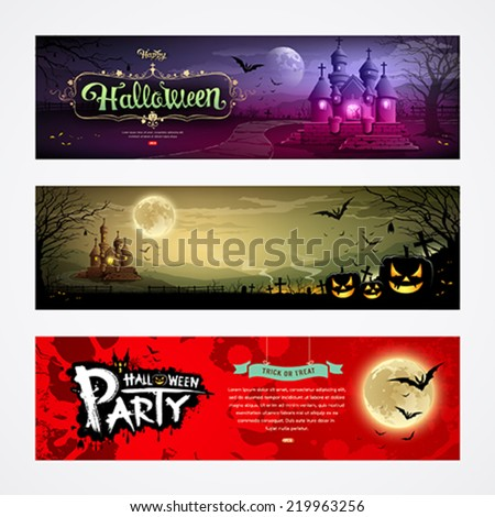Happy Halloween collections banner design background, vector illustrations - stock vector
