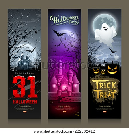 Happy Halloween collections banner vertical design background, vector illustrations - stock vector
