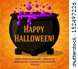 Happy halloween cute retro banner on the craft paper texture with black witch cauldron boiling the potion, with halloween greeting and place for your text. Background with witches, bats, spiders. - stock vector