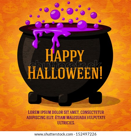 happy halloween cute retro banner on the craft paper texture with black witch cauldron boiling the - Cute Halloween Witches