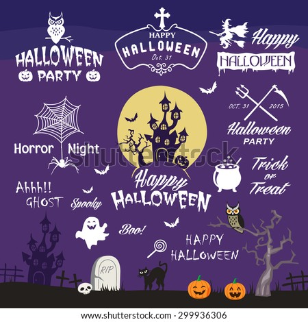 Happy Halloween design elements. Halloween decorative elements, logos, badges, labels, icons and objects collection. - stock vector