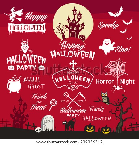 Happy Halloween design elements. Halloween design elements, logos, badges, labels, icons and objects collection. - stock vector