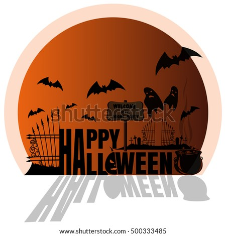 Happy Halloween Design. Orange Sticker. Concept Art. Halloween, Cemetery  With Ghosts,