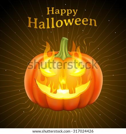 Happy Halloween, flaming pumpkin face - stock vector