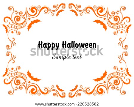 Happy Halloween! Frame isolated on White background. Celebration background with bat and place for your text.  Vector illustration  - stock vector