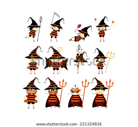 Happy Halloween. Funny little children in colorful costumes - stock vector
