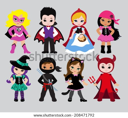 Happy Halloween. Funny little children in colorful costumes. Dracula,  Devil, witch,Pirate, Supergirl, ninja, cat, Little Red Riding Hood.  Vector illustration. Icon - stock vector