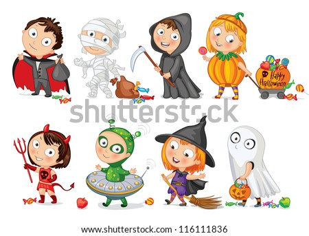 Happy Halloween. Funny little children in colorful costumes. Dracula, Grim Reaper, Devil,  mummy, alien, witch, ghost. Vector illustration. Icon - stock vector